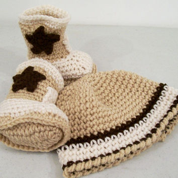 Baby Boys, Cowboy Gift Set, Crochet, Western Cowboy, Ecru Tan and Brown  cowboy Boots and Beanie, #59