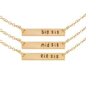 3pcs/set big sis mid sis lil sis Tag Pendant Necklace BFF Chain Simple Special Gift For Mother Daughter Family Friends Jewelry