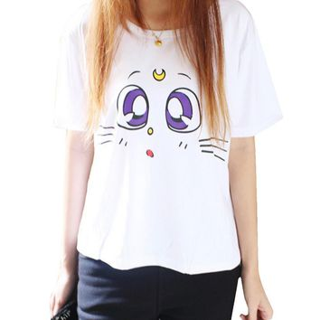Kawaii Summer Fashion Sailor Moon Luna Kitty Short Sleeve T-Shirt