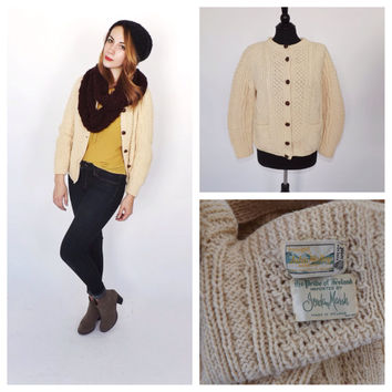 Vintage 100% Wool Ivory Fishermans Sweater Cardigan JOHN MOLLOY Aran Ireland Donegal Cardigan Sweater Fall Nautical Fisherman Cable Knit Ski