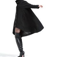 Black single breasted wool coat cloak outerwear asymmetry wool Overcoat Swallowtail winter coat