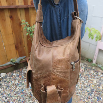 Vintage Caramel Leather Sling Convertible Bag Purse Tote Handbag 1980s  Single Strap Teardrop Backpack
