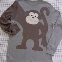 LIMITED Monkey Around long sleeve t-shirt Grey shirt with brown monkey Mens size SMALL