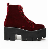 Jeffrey Campbell Slingin Boot in Cherry Velvet