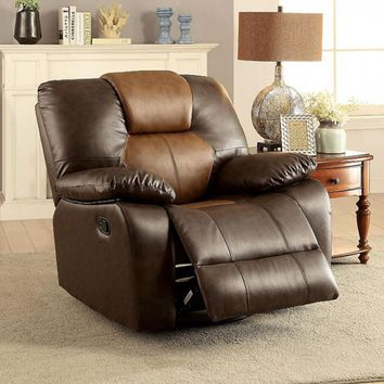Pollux Transitional Swivel Glider Recliner, Dark Brown & Light Brown Finish