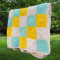 "Vintage crochet afghan blanket throw with colorful granny squares in yellow white aqua-blue 77"" x 44"""