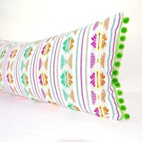 Lumbar White Pillow Cover 14x28 With Green Pom Poms, Boho Romm Decor