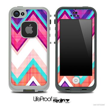 Pink & Blue Vintage V1 Chevron Skin for the iPhone 5 or 4/4s LifeProof Case