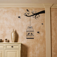 Vinyl Wall Decal - Birds in a Cage wall mural art Sticker A2006