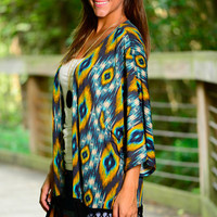 Aztec Peacock Cardigan, Blue-Yellow