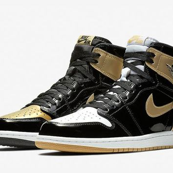 Best Deal Online Nike Air Jordan 1 High OG NRG Retro Gold Top 3 AJ 1 Men Sneakers ComplexCon Sports Shoes 861428-001