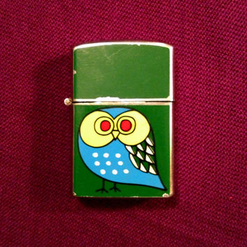 SALE Vintage Lighter  Cute Owl with Kelly Green by by TheLeafery