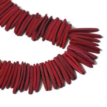 Red Wood spike beads, top drilled coconut palm sticks, tribal rustic, full strand (1090R)