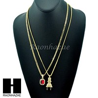 "HIP HOP ELECTRIC PLUG / RED RUBY 24"" BOX / CUBAN LINK CHAIN NECKLACES"