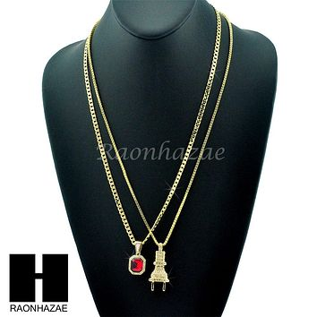 "HIP HOP ICED OUT ELECTRIC PLUG / RED RUBY 24"" BOX / CUBAN LINK CHAIN NECKLACES"