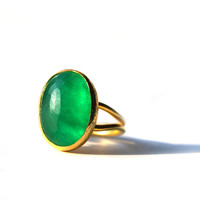 Green Oval Jade Ring