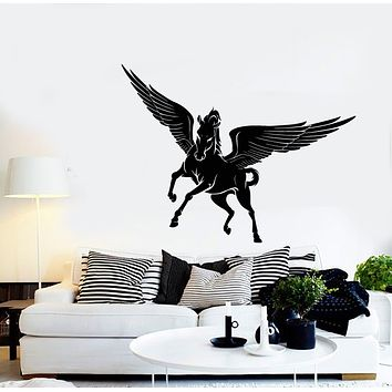 Vinyl Wall Decal Fantasy Beast Pegasus Horse Wings Stickers (3297ig)