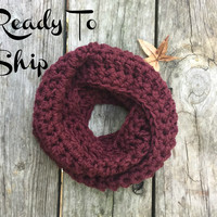 Toddler Infinity Scarf Ready To Ship Burgundy Toddler Crochet Infinity Scarf