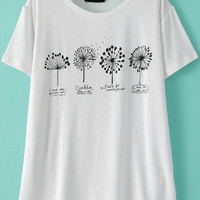 White Short Sleeve Dandelion Print T-Shirt