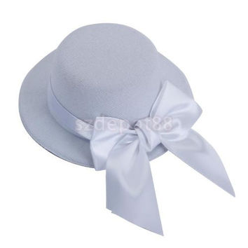 Free Shipping  Ladies Mini Top Hat Fascinator Burlesque Millinery w/ Bowknot - White