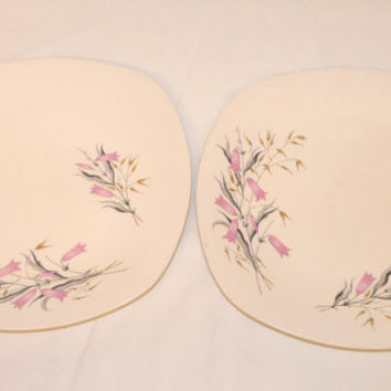 Two Dinner Plates, Harebell, Midwinter, Two, Large, White, Pink, Stylecraft, Fashion Shape, Staffordshire, England