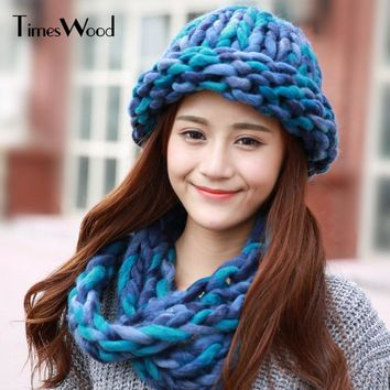 2pcs/Set Coarsely Knitted Cap Scarf Women's Set Neck Warmer Cute Women Knitting Hats New Skullies Beanies Winter Hat For Ladies