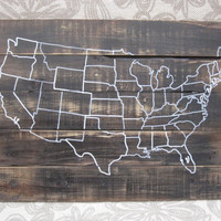 Wooden USA Map Wall Art