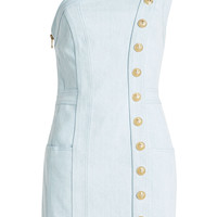 Asymmetric Denim Dress - Balmain | WOMEN | KR STYLEBOP.COM