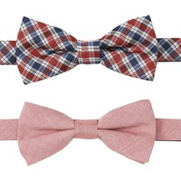 Wembley Plaid & Solid Chambray Bow Tie Set - Men, Size: One