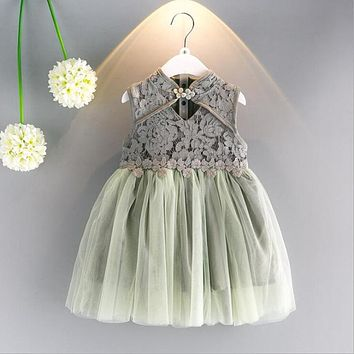 New year dresses for girls Cheongsam Dress Chinese style Lace flowers girls dress summer Princess party dress kids clothes Y0212