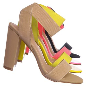 Lily34 Elastic Chunky Block High Heel Sandal - Women Open Toe Dress Shoe
