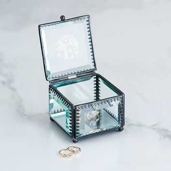 Vintage Inspired Glass Jewelry Box - Modern Fairy Tale Monogram Etching (Pack of 1)