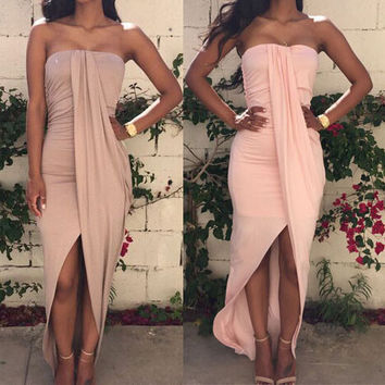 Strapless Backless Irregular Dress