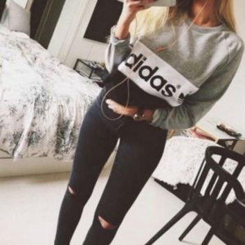 """""""Adidas"""" Fashion Casual Multicolor Clover Letter Print Long Sleeve Sweater Tops"""