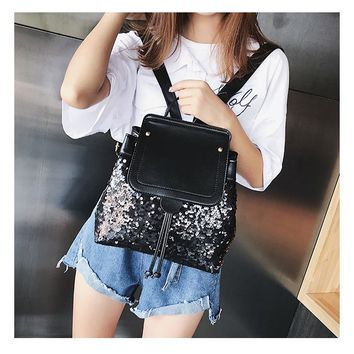 New Bag Female  Simple Summer  Sequin Edgy Casual Wild Small Backpack Student Bag