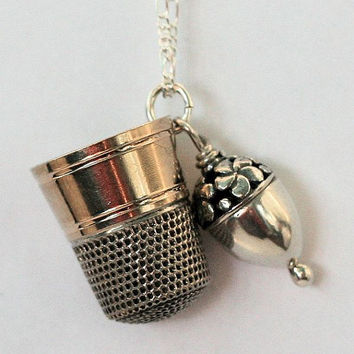 Thimble and Acorn Peter Pan and Wendy Hidden Kisses in Sterling Silver and Vermeil