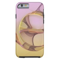 Abstract Motions, Modern Light Pink Yellow Fractal Tough iPhone 6 Case