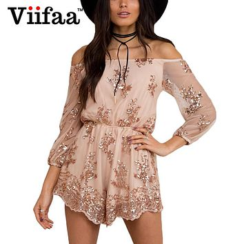 Viifaa Elegant Sequins Jumpsuit Rompers Women Mesh Long Sleeve Backless Sexy Slash Neck Gold Playsuit Overalls