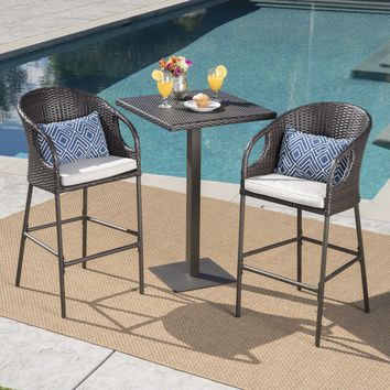 Big Rock Outdoor 3 Piece 40 Inch Wicker Bar Set with Water Resistant Cushions