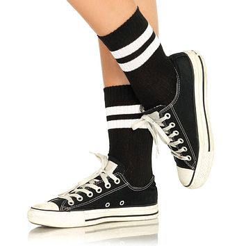 Athetlic Striped Anklet Socks