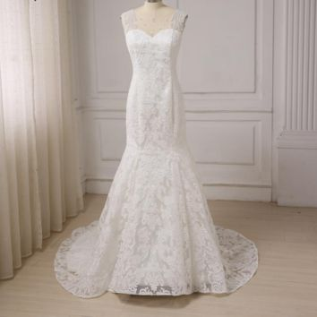 Lace Mermaid Wedding Dress Ivory Cap Sleeve Pearls Court Train Bridal Gowns Zipper Up Back