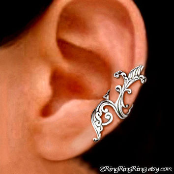 earcuff 925, Iris wave - solid sterling silver ear cuff earring jewelry 090912