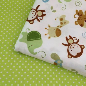 100% Cotton twill fresh cartoon animals money green dots for DIY kids bedding cushions curtains tent handwork decor fabric cloth