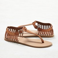 AEO Cutout T-Strap Sandal , Natural | American Eagle Outfitters
