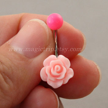baby pink rose Belly Button jewelry,rose Navel Jewelry,rose bud belly button ring,girlfriend gift,summer jewelry