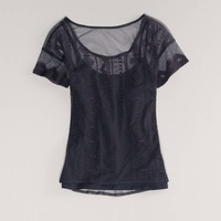 AE Embroidered Mesh Top | American Eagle Outfitters