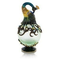 Perfume Bottle (Green with Peacock Stopper)