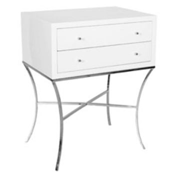 Worlds Away Elena White and Silver Side Table