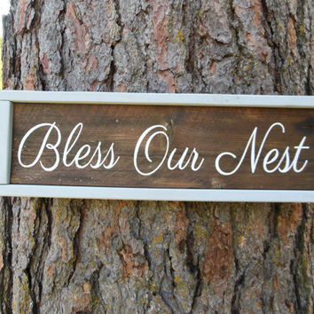 "Joyful Island Creations ""Bless our nest"" wood signs, wood framed signs, entry way signs, reclaimed wood signs, our nest sign"