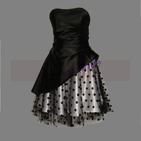 2014 short black and white satin prom dresses,chic cute tulle gowns for wedding party,best cheap homecoming dress under 150.